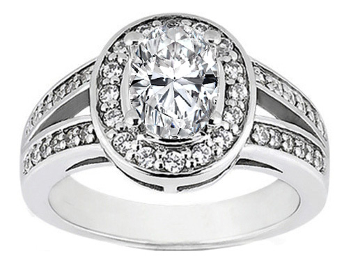 Micro-Pave Set Split Band Oval Diamond Engagement Ring in 14K White Gold 0.26 tcw.