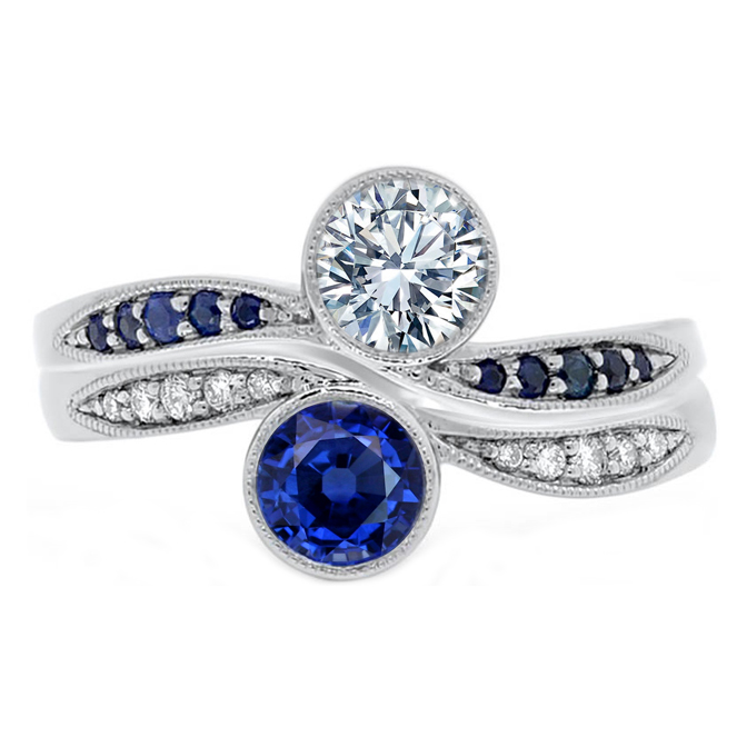 Duo Bezel Diamond & Sapphire Engagement Ring & Band