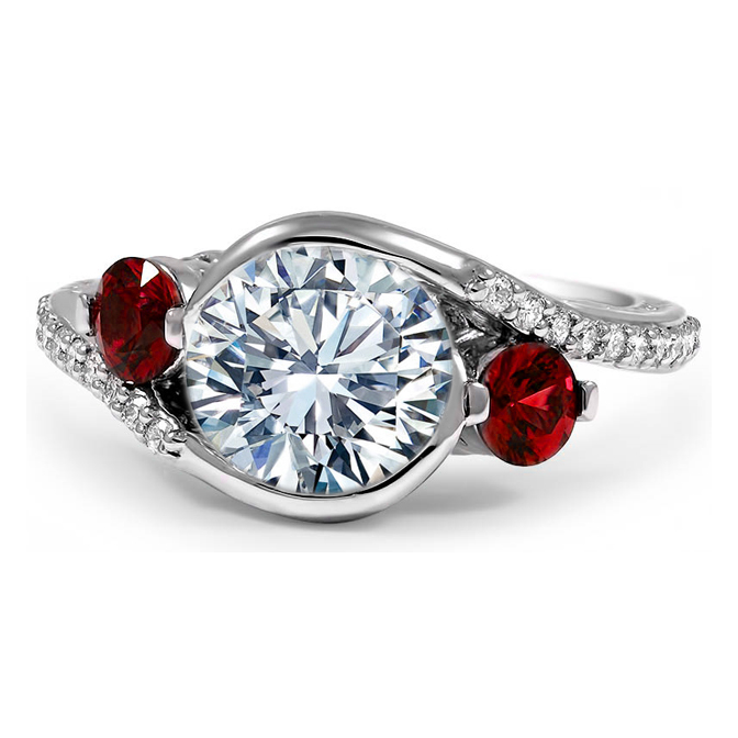 Three Stone Swirl Diamond-Ruby Engagement or Anniversary Ring