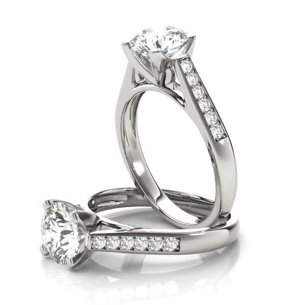 Classic Cathedral Diamond Engagement Ring for Large Diamonds