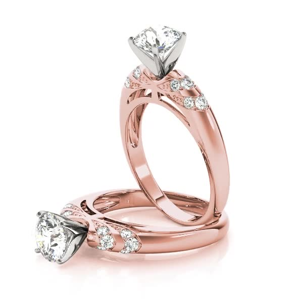 Multi-Row Pave Diamond Engagement Ring in Rose Gold