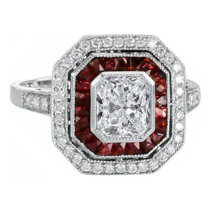 Double Halo Diamond & Ruby Art-Deco Engagement Ring