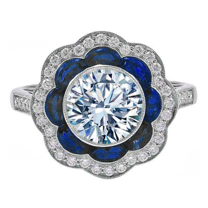 Half Moon Sapphire & Pave Diamond Halo Engagement Ring
