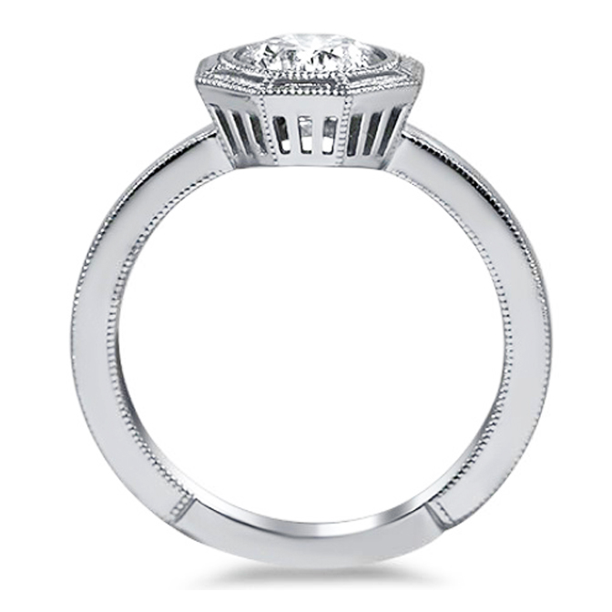 Petite Hexagon Bezel Diamond Engagement Ring