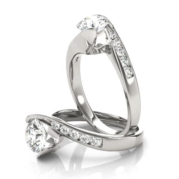 Swirl Semi Bezel Diamond Bridge Engagement Ring