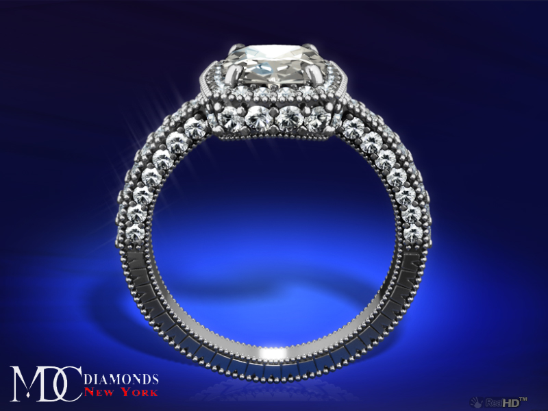 Tonnaeau Cushion Diamond Engagement Ring in Platinum, 1 tcw