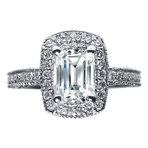 Halo Pave Emerald Diamond Vintage Engagement Ring, 0.71 tcw. In 14K White Gold