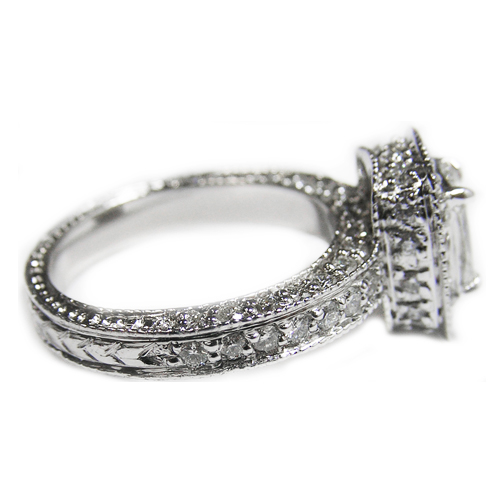 Halo Pave Radiant Diamond Vintage Engagement Ring, 0.71 tcw. In 14K White Gold