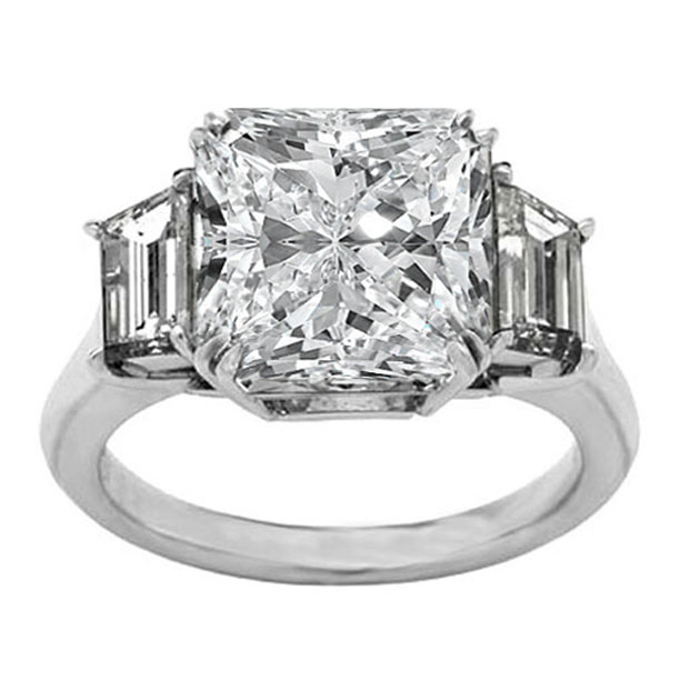 Engagement Ring -Radiant Diamond Engagement Ring Trapezoid Diamond sides  0.45 tcw.-ES1RAWG