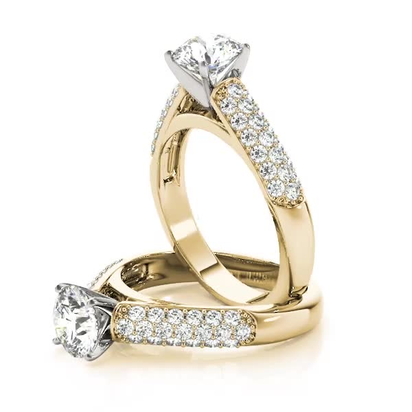 Etoil Cathedral Diamond Engagement Ring Yellow Gold