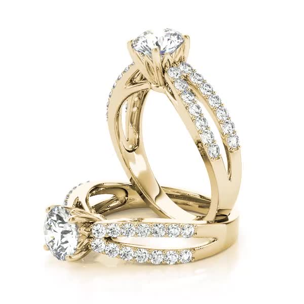 Split Band Diamond Engagement Ring with Floral Prongs in Yellow Gold