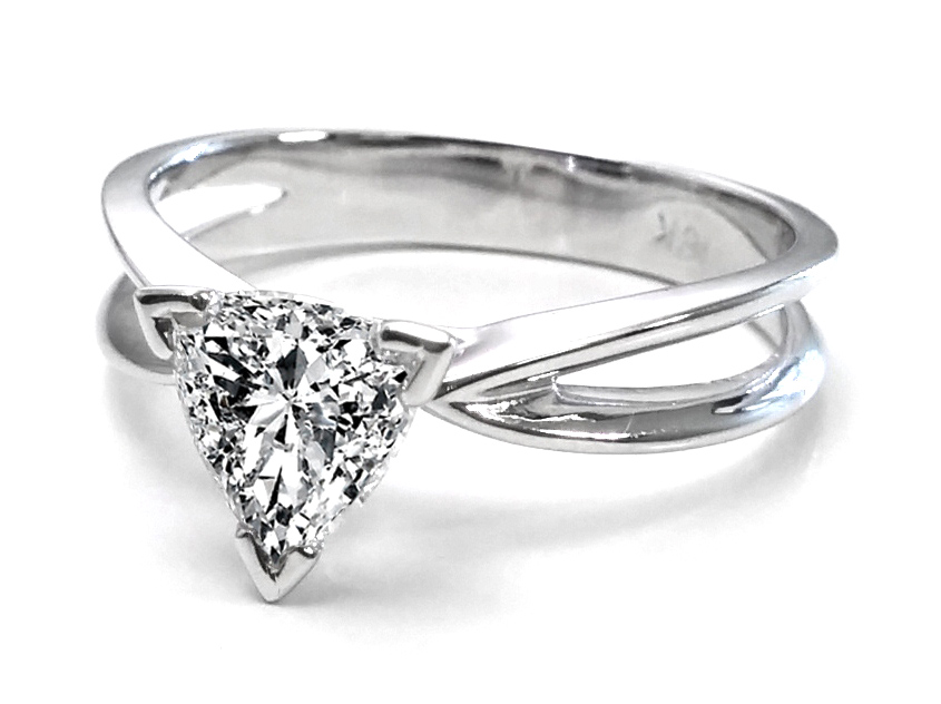 Trillion Diamond Solitaire Concave Engagement Ring in 14K White Gold