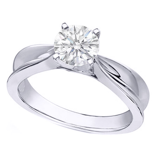 Solitaire Concave Diamond Engagement Ring in 14K White Gold