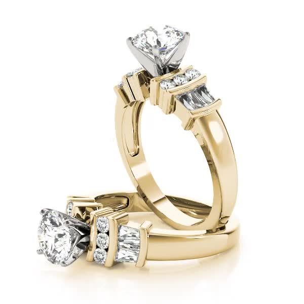 Classic Multi Row Baguette & Round Diamond Engagement Ring Yellow Gold