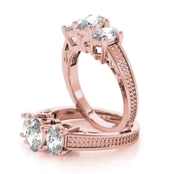 Three Stone Oval Diamond Engagement Anniversary Ring, Filigree & Engraving in Rose Gold