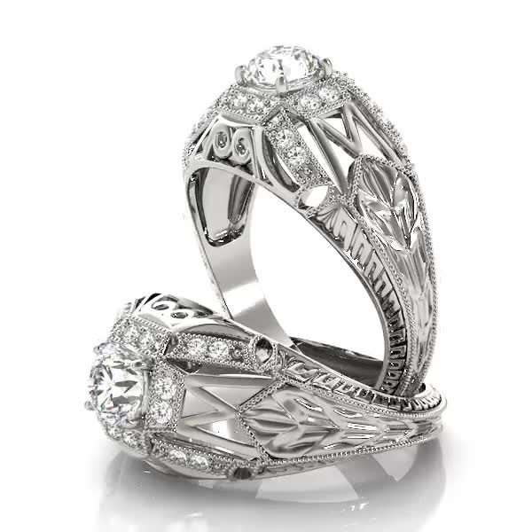 Halo Vintage Diamond Engagement Ring, Filigree & Engraving