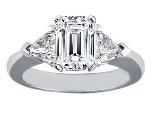 Platinum Engagement Ring Setting with Trillion Diamond Accents Like Eva Longoria-Parker 0.40 tcw.