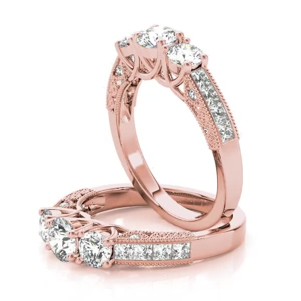 Three Stone Vintage Diamond Engagement Ring, Anniversary Ring in Rose Gold
