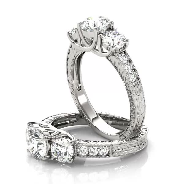 Three Stone Vintage Diamond Engagement Ring, Anniversary Ring