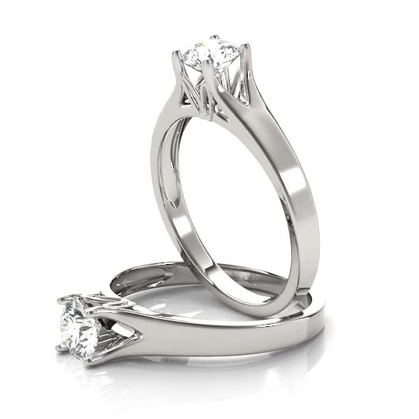 Round Diamond Solitaire Split Band Engagement Ring