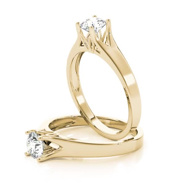 Round Diamond Solitaire Split Band Engagement Ring Yellow Gold