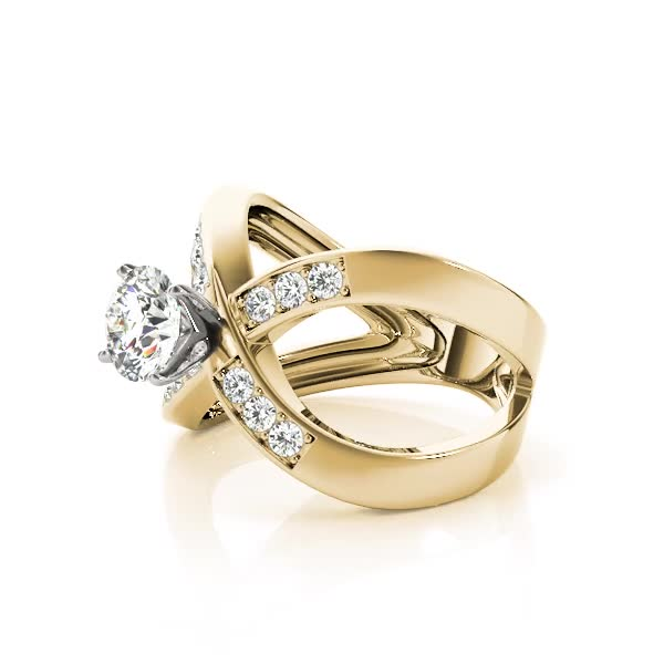 Criss Cross X Diamond Split Band Engagement Ring Yellow Gold