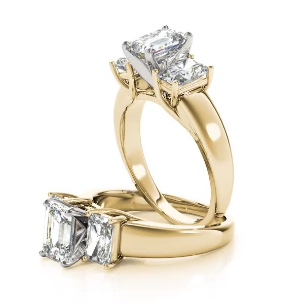 Three Stone Diamond Trellis Engagement Ring Yellow Gold
