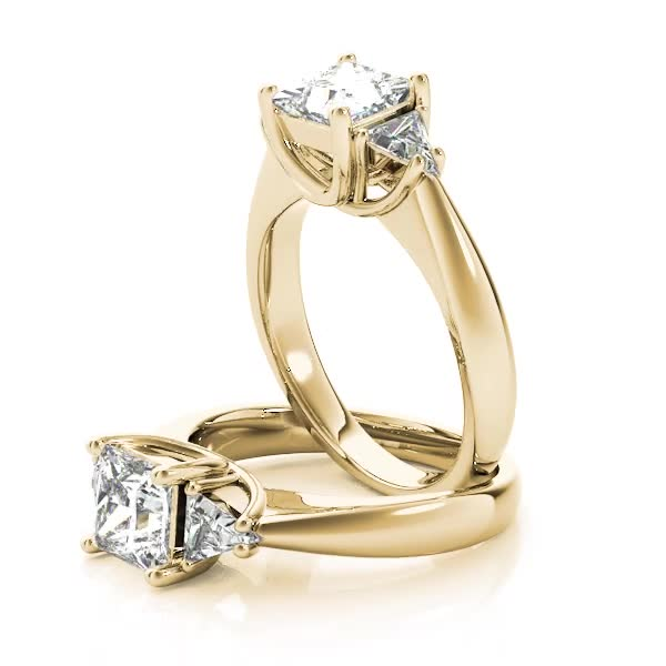 Princess - Trillion Diamond Classic Engagement Ring Yellow Gold