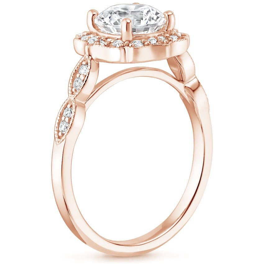 Swing Halo Diamond Engagement Ring in Rose Gold
