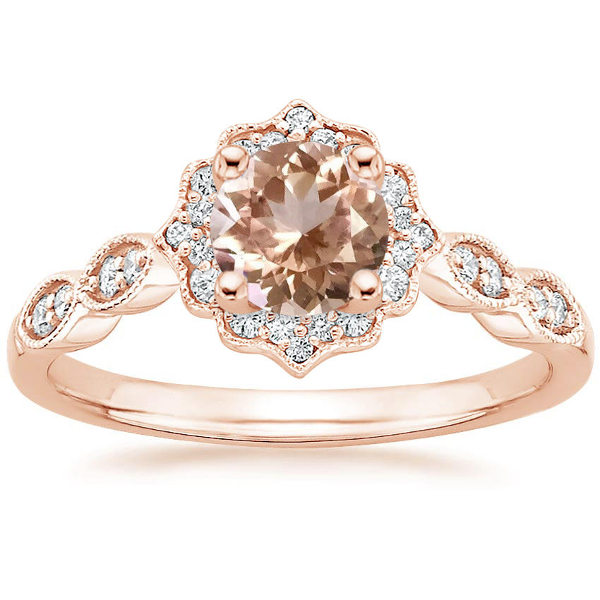 Morganite Swing Halo Diamond Engagement Ring in Rose Gold