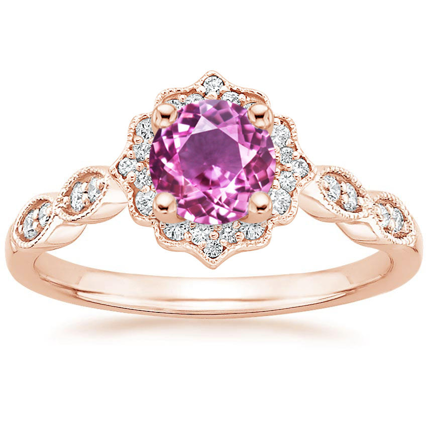 Pink Sapphire Swing Halo Diamond Engagement Ring in Rose Gold