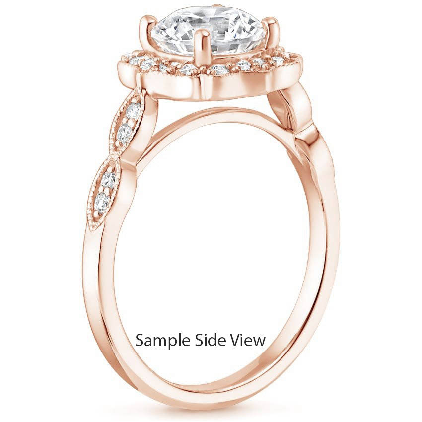 Round Cut Citrine Swing Halo Diamond Engagement Ring in Rose Gold
