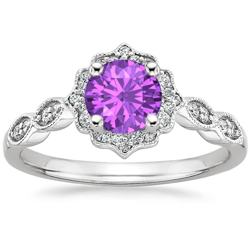 Round Cut Amethyst Swing Halo Diamond Engagement Ring