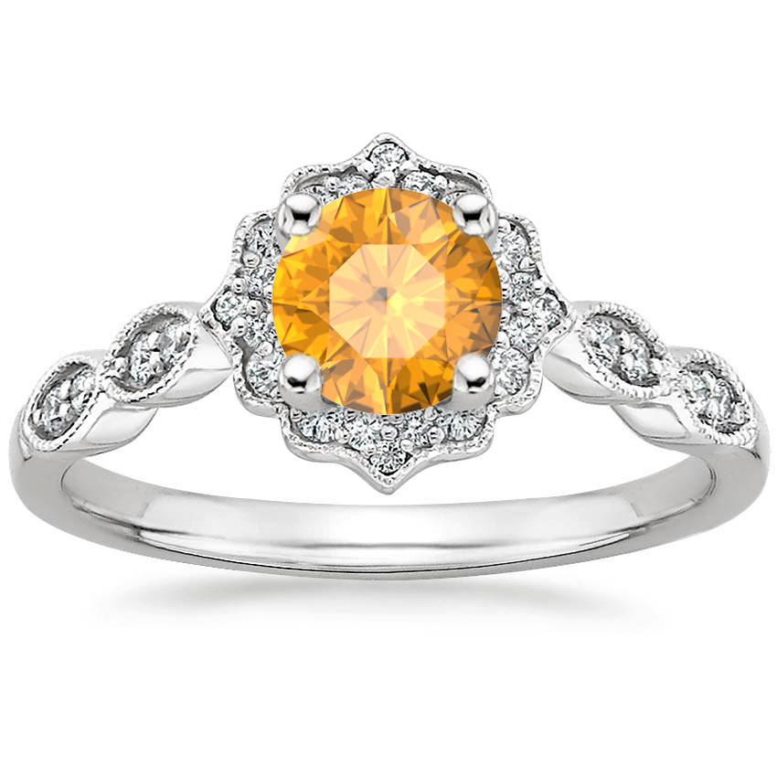 Round Cut Citrine Swing Halo Diamond Engagement Ring
