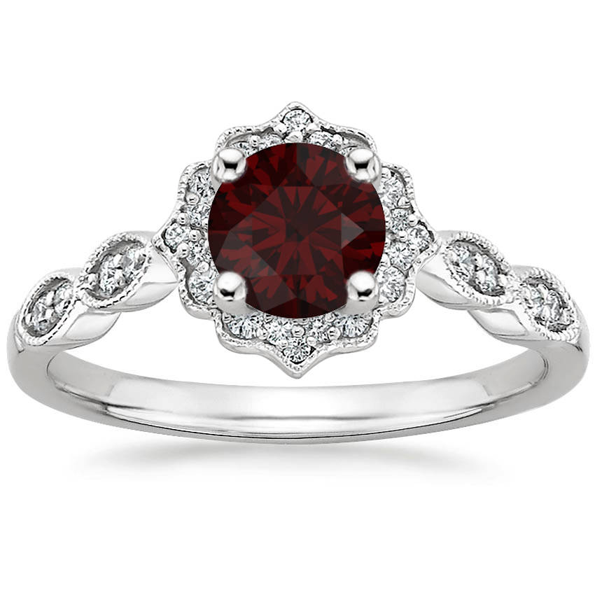 Round Cut Garnet Swing Halo Diamond Engagement Ring