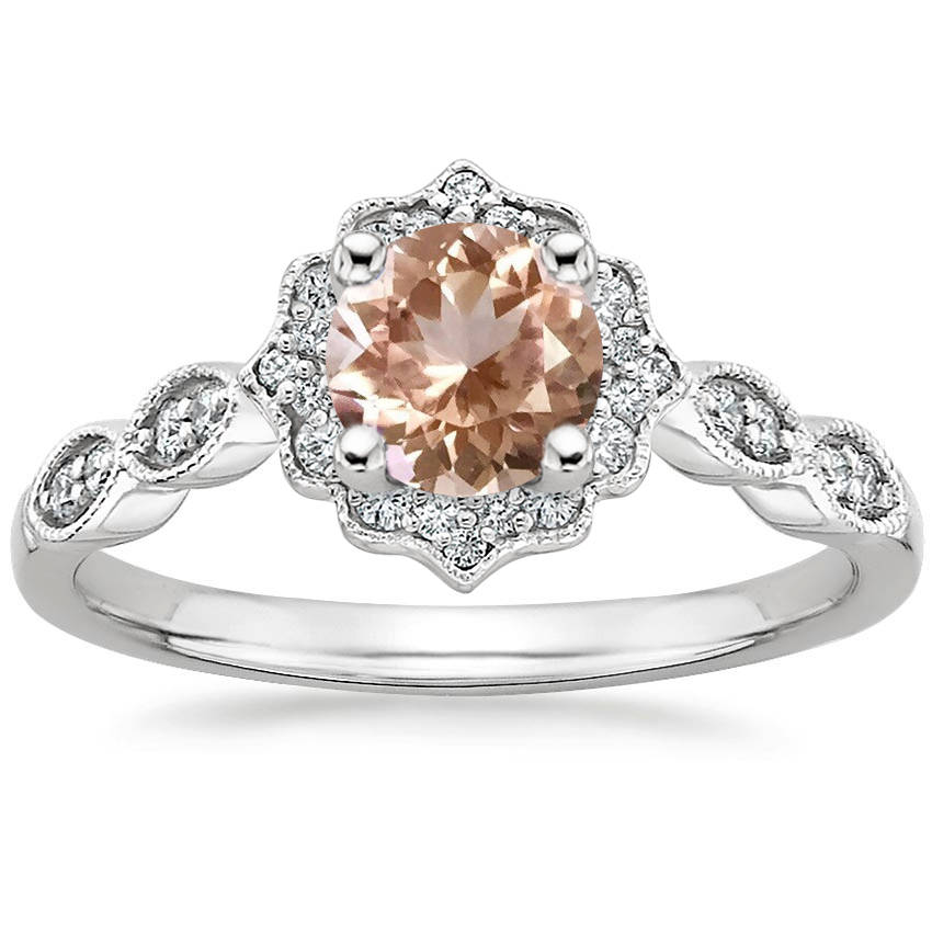 Round Cut Morganite Swing Halo Diamond Engagement Ring