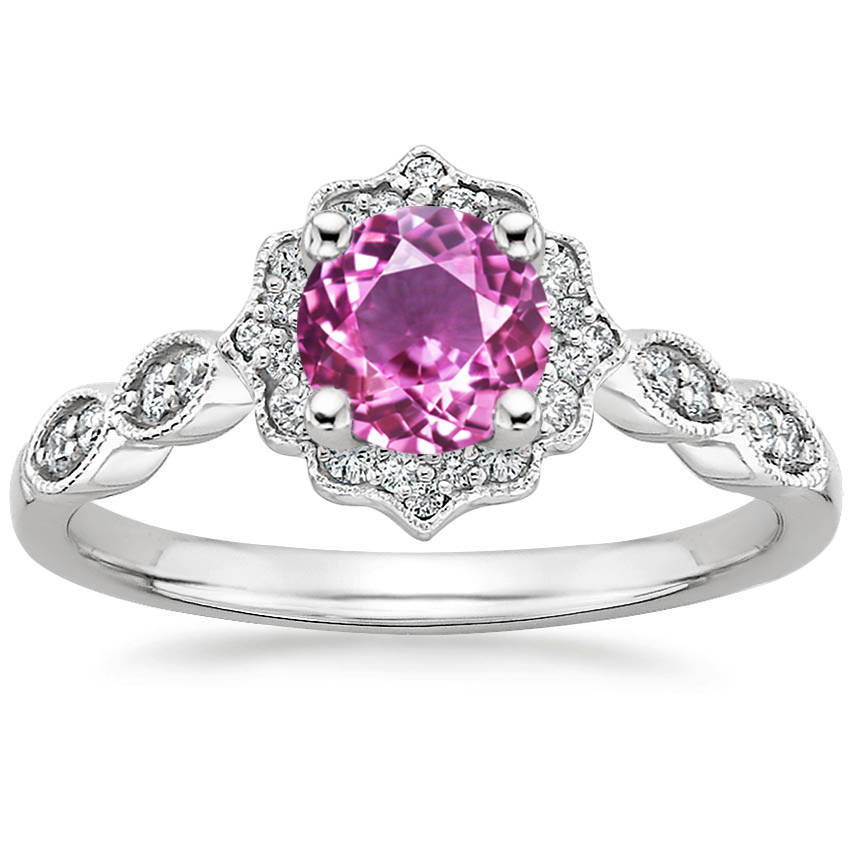 Round Cut Pink Sapphire Swing Halo Diamond Engagement Ring