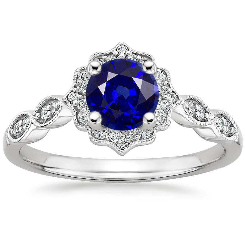 Round Cut Blue Sapphire Swing Halo Diamond Engagement Ring