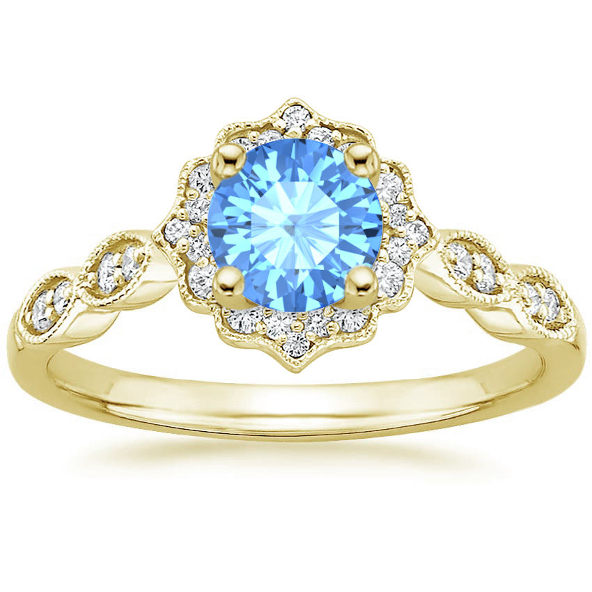 Round Cut Blue Topaz Swing Halo Diamond Engagement Ring in Yellow Gold