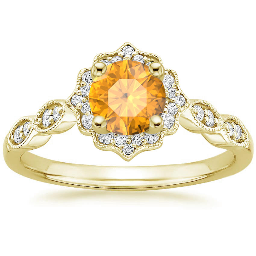 Round Cut Citrine Swing Halo Diamond Engagement Ring in Yellow Gold