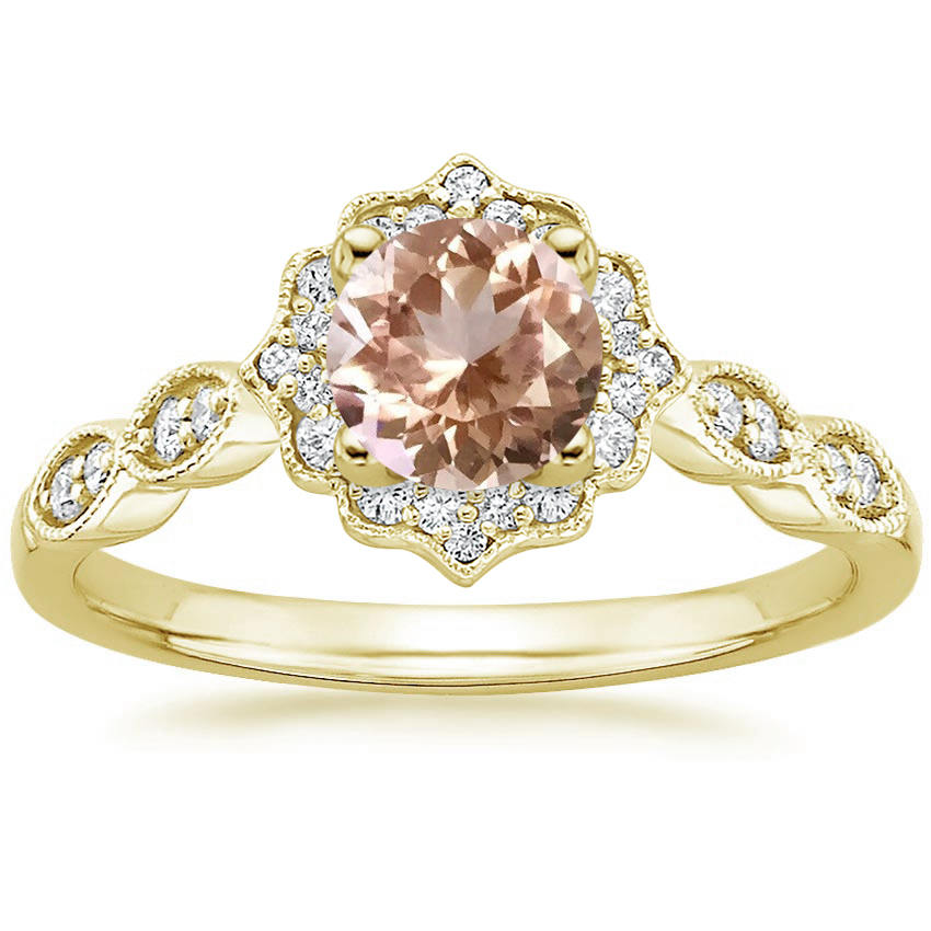 Morganite Swing Halo Diamond Engagement Ring in Yellow Gold