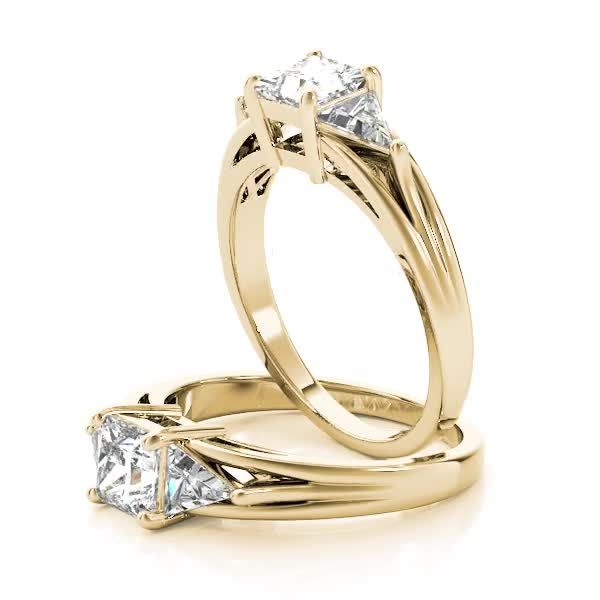 Three Stone Princess - Trillion Diamond Engagement Ring Yellow Gold