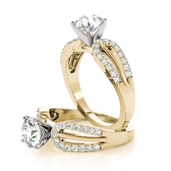 Horseshoe Diamond Engagement Ring Yellow Gold
