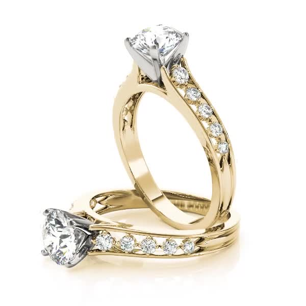 Cathedral Split Band Diamond Engagement Ring Yellow Gold