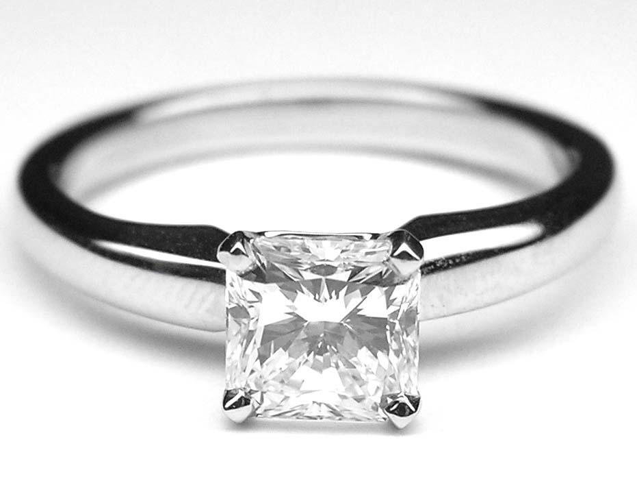 Solitaire Square Radiant Diamond Engagement Ring Setting In 14k White Gold
