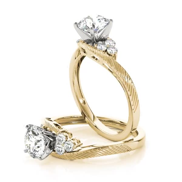 Swirl Trio Diamond Engagement Ring Yellow Gold