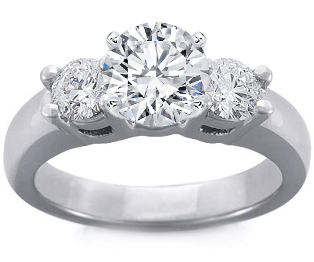 Platinum Three Stone Engagement Ring Setting Ideal-Cut Diamond Accents