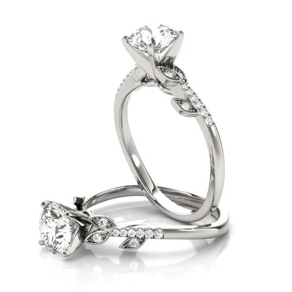 Open Vine Diamond Engagement Ring in White Gold