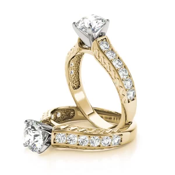 Classic Diamond Engagement Ring with Engraving Yellow Gold