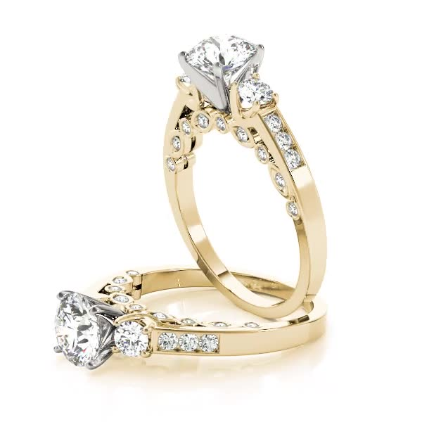 Three Stone Diamond Swing Engagement Anniversary Ring Yellow Gold